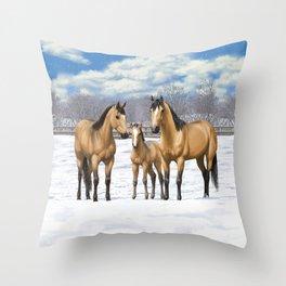 Buckskin Quarter Horses In Snow Throw Pillow