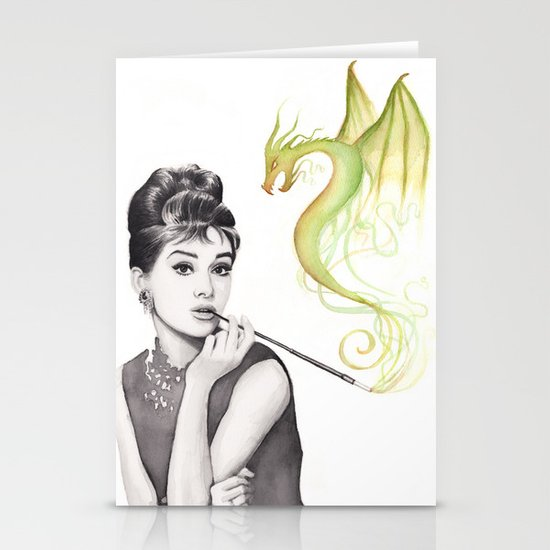Audrey Hepburn Smoking and Dragon Stationery Cards