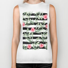 Delicate Hibiscus On Stripes Biker Tank