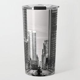 Black and white street Travel Mug