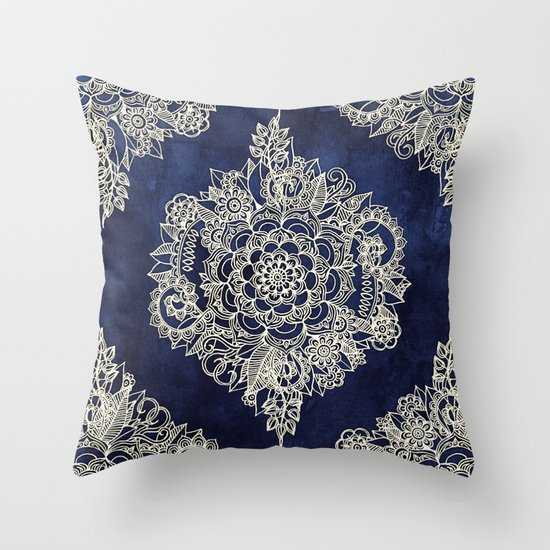 Cream Floral Moroccan Pattern on Deep Indigo Ink Throw Pillow by Micklyn Society6