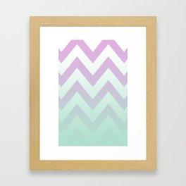 PINK CHEVRON MINT FADE Framed Art Print