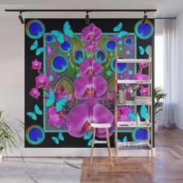 Decorative purple, Blue, Pink Orchids Butterflies Peacock Eyes Wall Mural