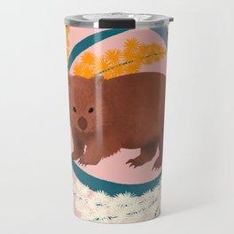 Wombat and Mimosa (aka waddle and wattle) Travel Mug