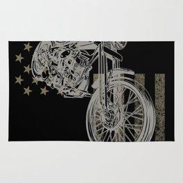 Motocross Dirt Bike American Flag Vintage Rug