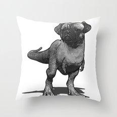 Pugussaurus Rex Throw Pillow