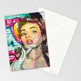 Retro Pinup Girl & Colorful Graffiti Wall Stationery Cards