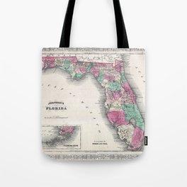 1866 Map of Florida Tote Bag
