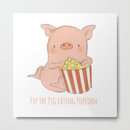 Pip the Pig Eating Popcorn Metal Print