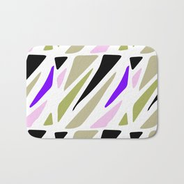 Hand painted abstract pink violet green geometric pattern Bath Mat