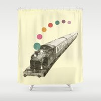 train Shower Curtains featuring Rainbow Train by Cassia Beck