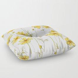 Yellow Cosmos Flowers Floor Pillow