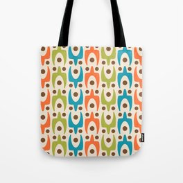 Mid Century Modern Abstract Pattern 441 Orange Chartreuse and Turquoise Tote Bag