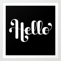 lettering Art Prints featuring Hello Lettering by Roberlan Borges