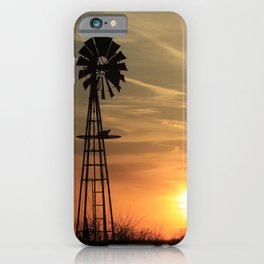 Kansas Sunset with Sun and Windmill Silhouette iPhone Case