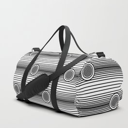 Concentric Circles and Stripes in Black and White Duffle Bag