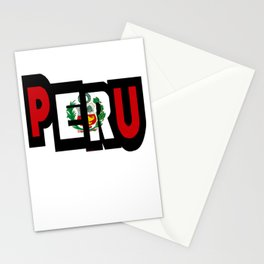 Peru Font With Peruvian Flag Stationery Cards