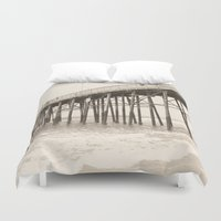 surfer Duvet Covers featuring Surfer Girl by Chellin'