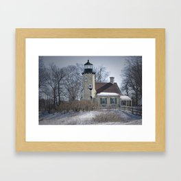 Lighthouse during Winter in Whitehall Michigan Framed Art Print