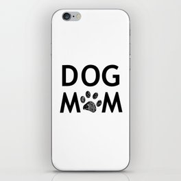 Black paw print with hearts. Dog mom text. Happy Mother's Day background iPhone Skin