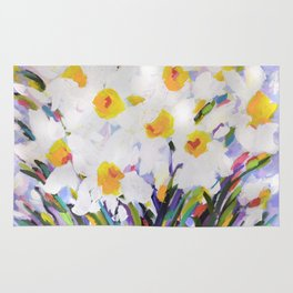 White Daffodil Meadow Rug