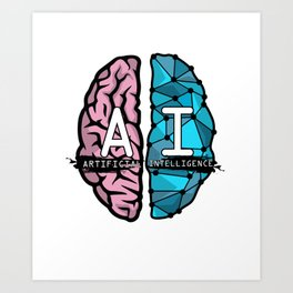 AI Nerd design - Artificial Intelligence Brain graphic Art Print