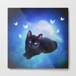 Cute little black kitten Metal Print