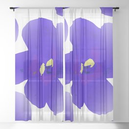 Large Retro Blue Flowers 1 White Background  Sheer Curtain