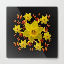 Decorative Black Design Butterflies Yellow Daffodils Metal Print