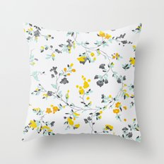 floral vines - light blue and yellow Throw Pillow