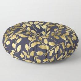 Gold Leaves on Navy Floor Pillow