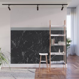 Grey Black Marble Meets Romantic Pink #1 #decor #art #society6 Wall Mural
