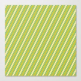 Geometrical green yellow white triangles stripes pattern Canvas Print