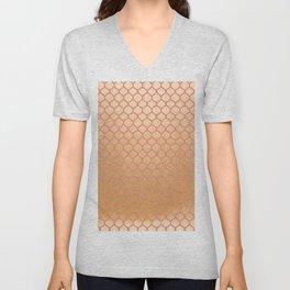 Chic modern coral faux gold quatrefoil pattern Unisex V-Neck