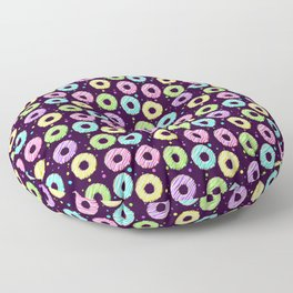 delicious donuts with multi-colored icing on a dark background. cartoon donuts Floor Pillow