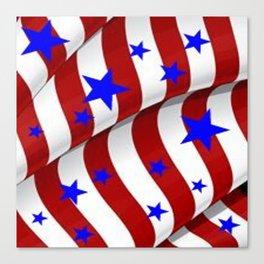 PATRIOTIC AMERICANA JULY 4TH BLUE STARS DECORATIVE ART Canvas Print