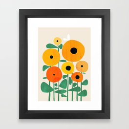 Sunflower and Bee Framed Art Print