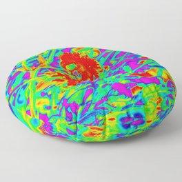 Psychedelic flower garden Floor Pillow