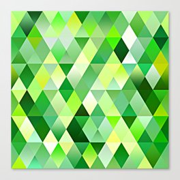 Lime Green Yellow White Diamond Triangles Mosaic Pattern Canvas Print