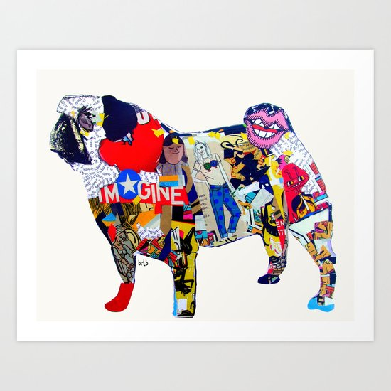 pug graffiti )dogs Art Print