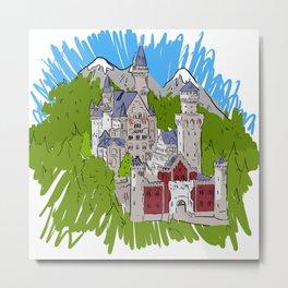 Bavarian Castle - Neuschwanstein Metal Print