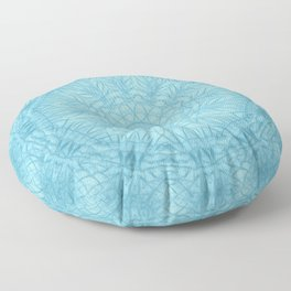 Abstract blue thistle mandala Floor Pillow