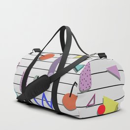 Seamless colorful pattern in retro style on white background with strips Duffle Bag