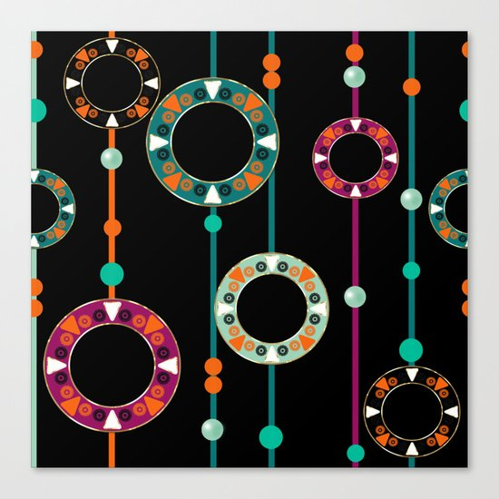 Abstract folk african pattern. Multi-colored circles rings. Canvas Print