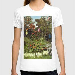 Exotic Jungle Landscape with Monkeys and Birds by Henri Rousseau T-shirt