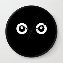 Scared Cartoon Eyes in the Dark Wall Clock
