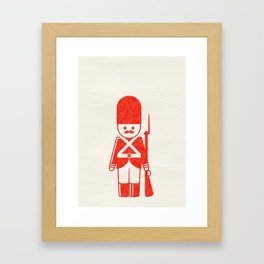 English toy soldier with shotgun, drawing with letterpress effect. Framed Art Print