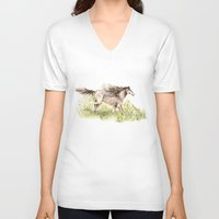 running V-neck T-shirts featuring Running Horse by Goosi