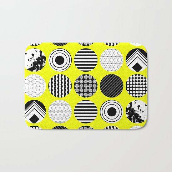 Eclectic Geometric - Black, white and yellow Bath Mat