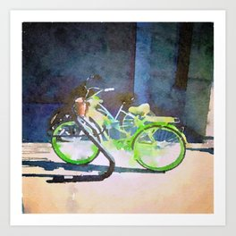 Green Bicycle Art Print